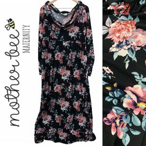 Mother Bee Maternity Cowl Neck Floral Maxi Dress